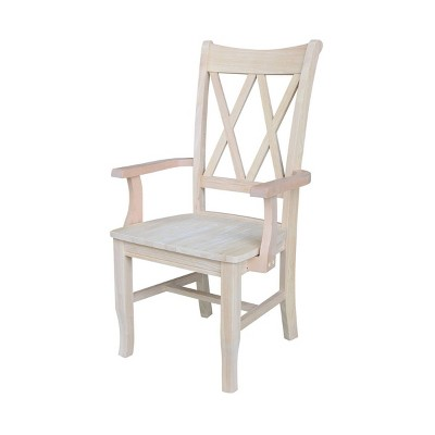 Double X Back Chair with Arms Unfinished Brown - International Concepts