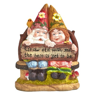 Lakeside Happy Gnome Couple on Bench - Whimsical Outdoor Garden Decoration