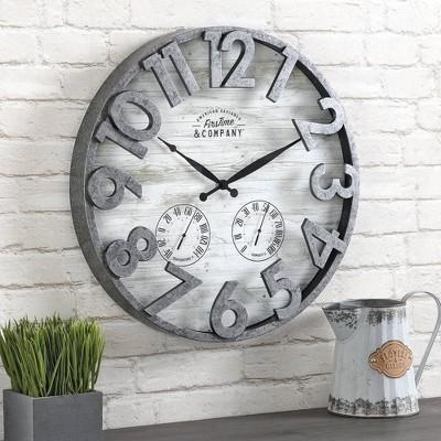 FirsTime 18  Shiplap Outdoor Wall Clock