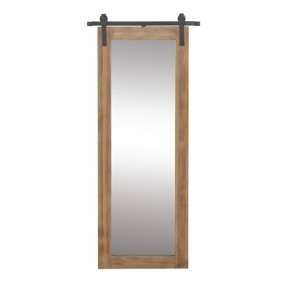 "70"" x 32"" Farmhouse Rectangular Wooden Framed Wall Mirror with Iron Wall Brackets - Olivia & May"