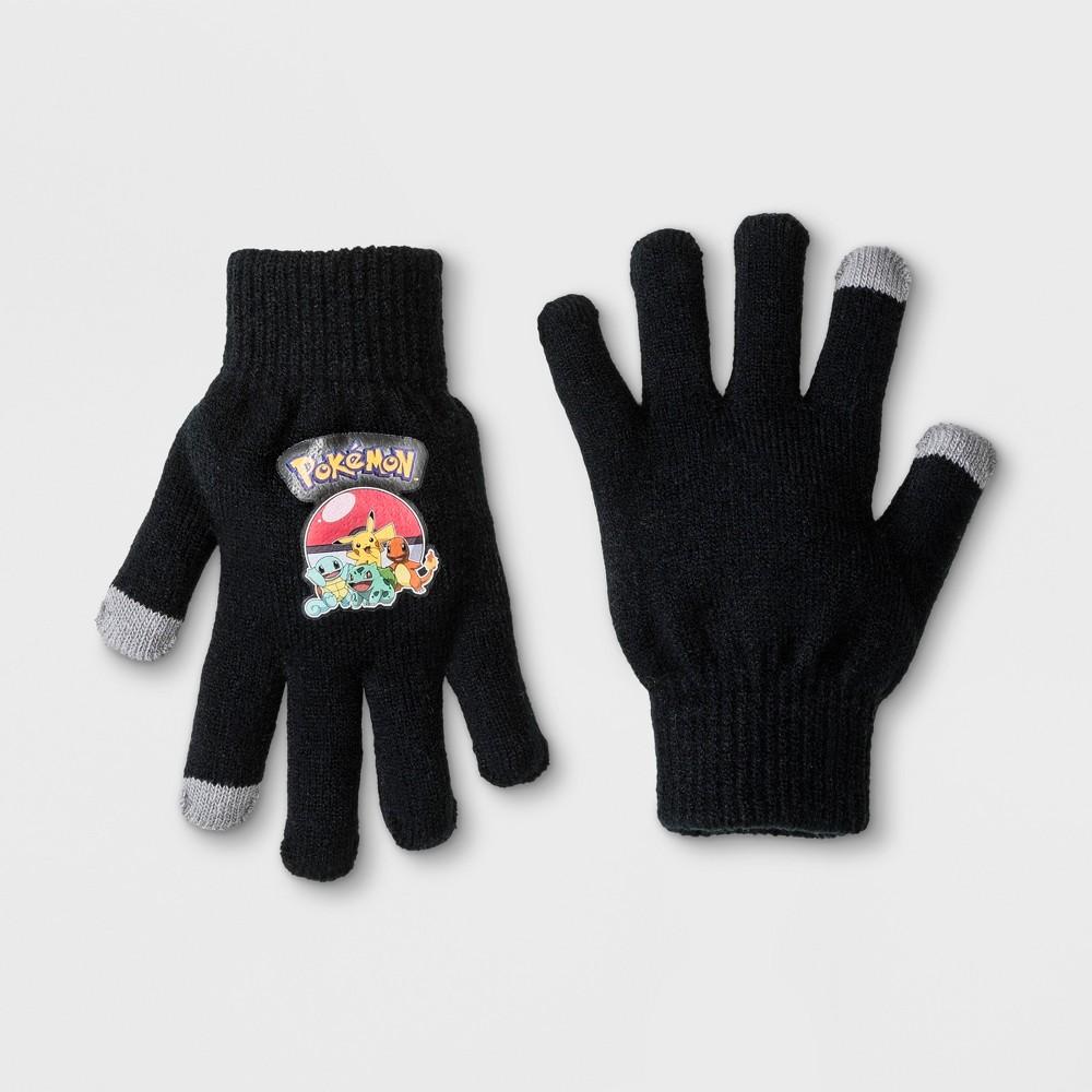 Boys' Pokemon Pikachu 2 in 1 Gloves - Black One Size