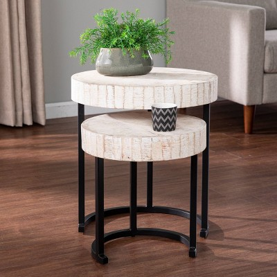 Set of 2 Highio Nesting Side Tables White/Black - Aiden Lane