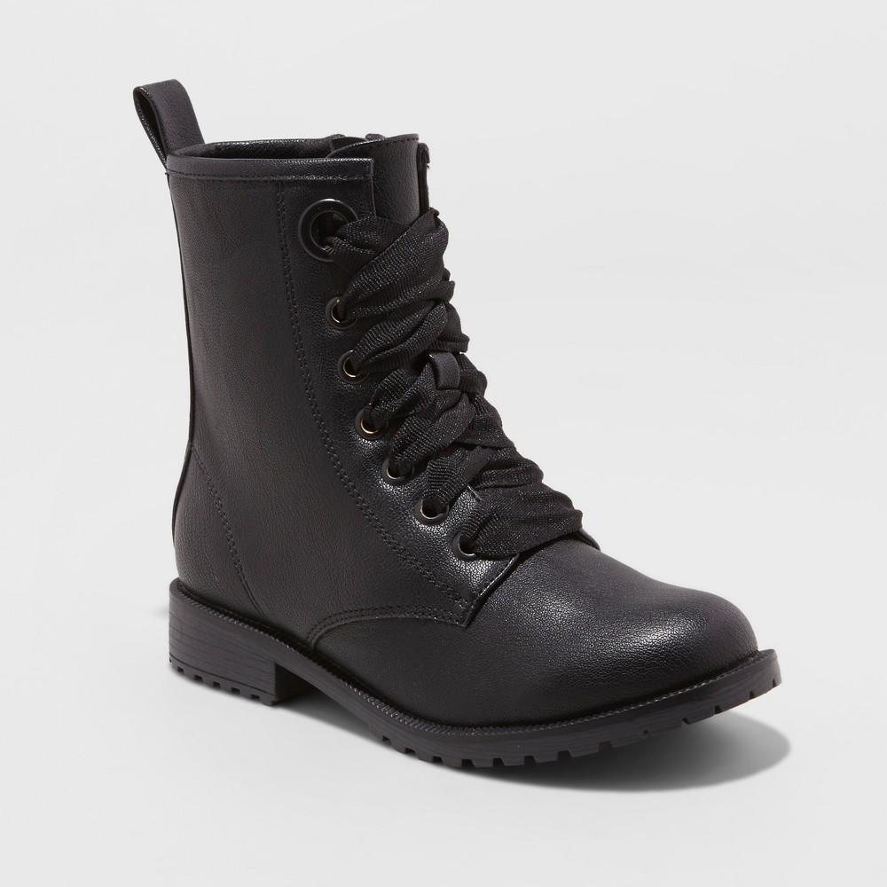 Girls' Lida Laceup Boots - Cat & Jack Black 13