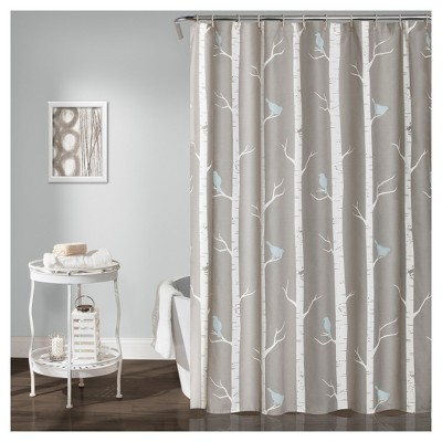 Bird on the Tree Shower Curtain Gray/Blue - Lush Decor