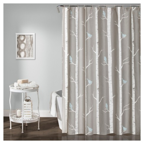 Bird On The Tree Shower Curtain Gray Blue