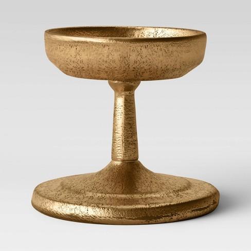"3.5"" x 4"" Brass Pillar Candle Holder Gold - Threshold™ - image 1 of 2"
