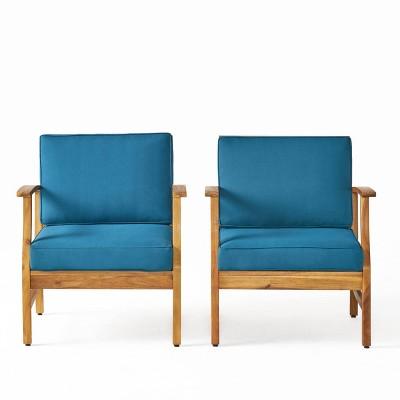 Perla 2pk Acacia Wood Club Chairs - Teak/Blue - Christopher Knight Home