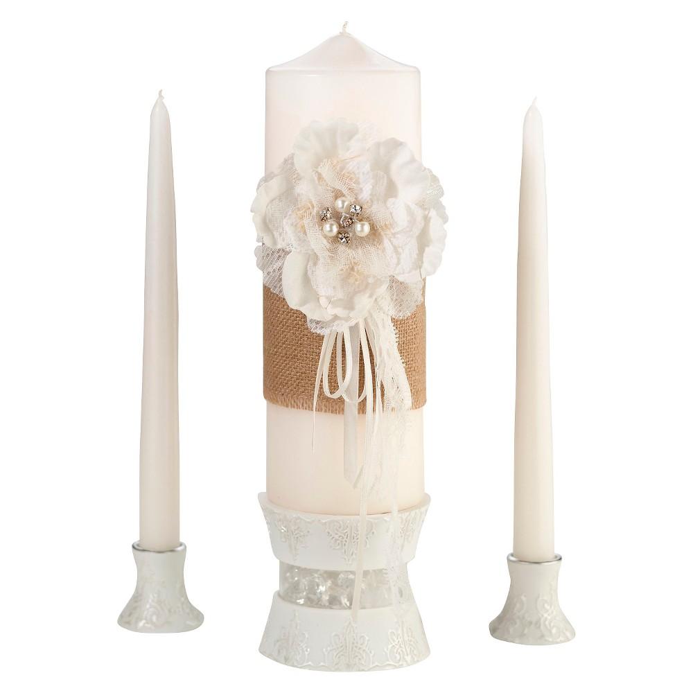 Image of 3pc Burlap & Lace Candle Set White/Cream (Ivory) - Lillian Rose