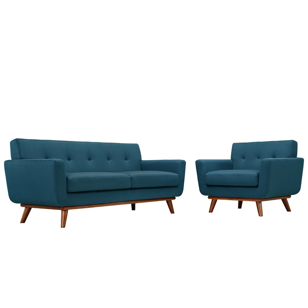 Engage Armchair and Loveseat Set of 2 Azure (Blue) - Modway