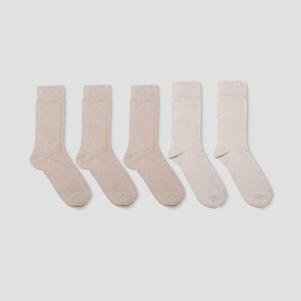 Image of Men's Flat Knit Dress Socks 5pk - Goodfellow & Co Khaki 10-13, Size: Small, Brown