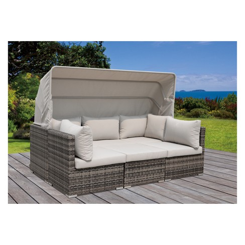Aurora Outdoor Sectional To Daybed Combo With Canopy - Taupe ...