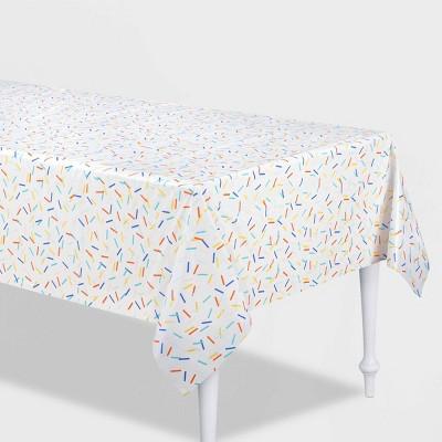 """54"""" x 84"""" Retro Confetti Plastic Table Cover - Spritz™"""