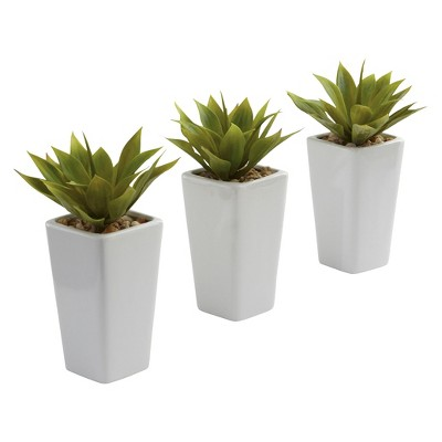 Nearly Natural Mini Agave w/ Planter (Set of 3)White