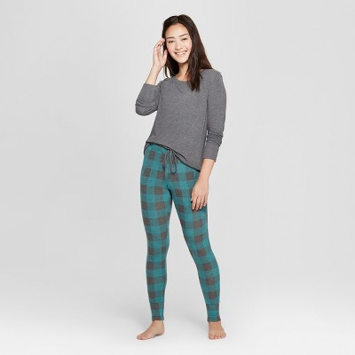 Women's Plaid Cozy Pajama Set - Xhilaration™ Green XL