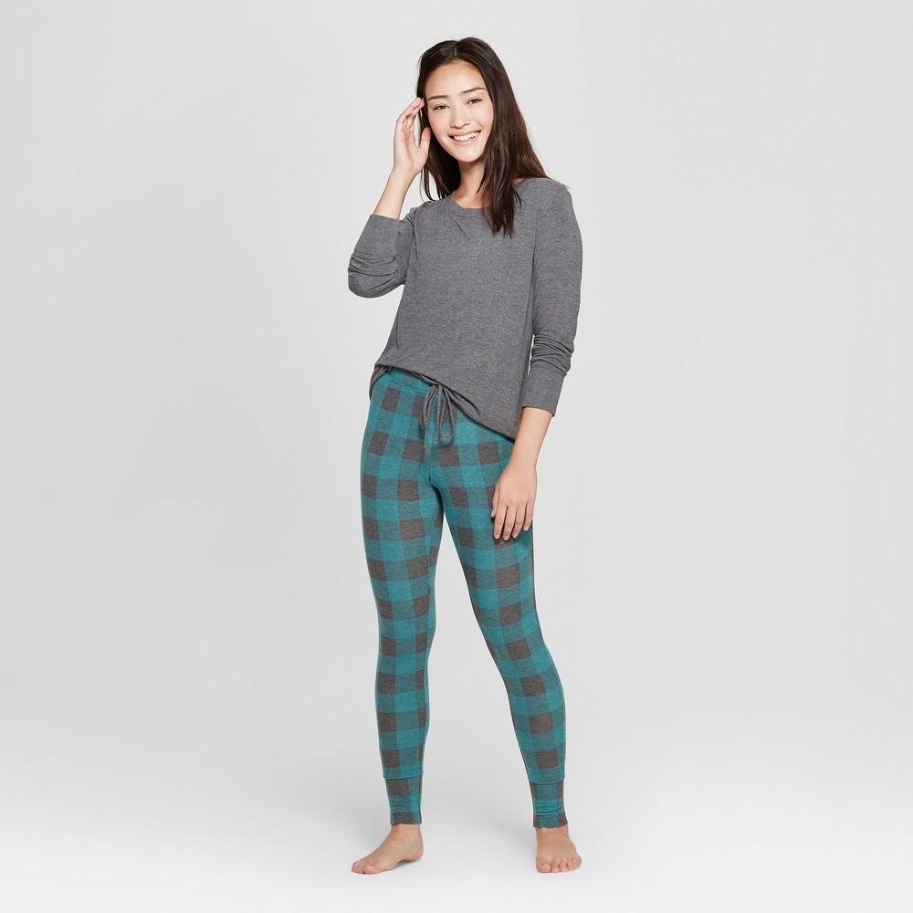 Women's Plaid Cozy Pajama Set - Xhilaration Green M