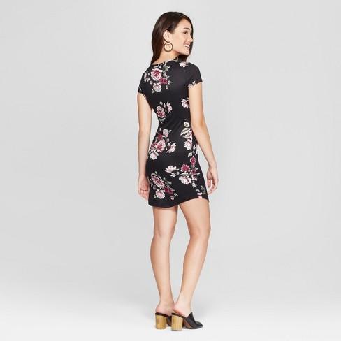 8e6ef60813b4 Women s Floral Print Short Sleeve Cross Front Knit Dress - Almost Famous  (Juniors ) Black M   Target
