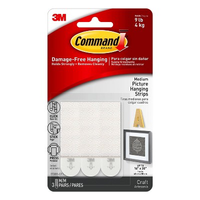 Command Medium Sized Picture Hanging Strips (3 Sets of Strips) - White