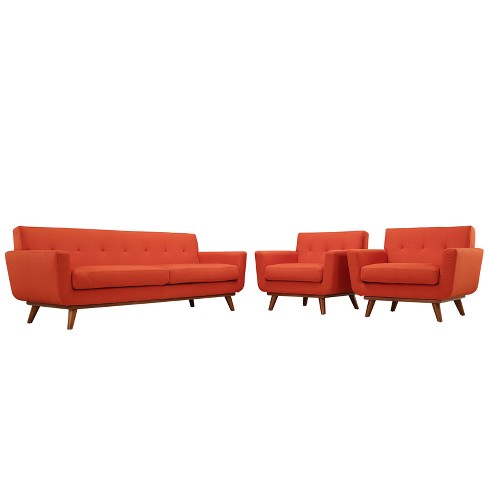 Engage Armchairs and Sofa Set of 3 Atomic Red - Modway - image 1 of 7
