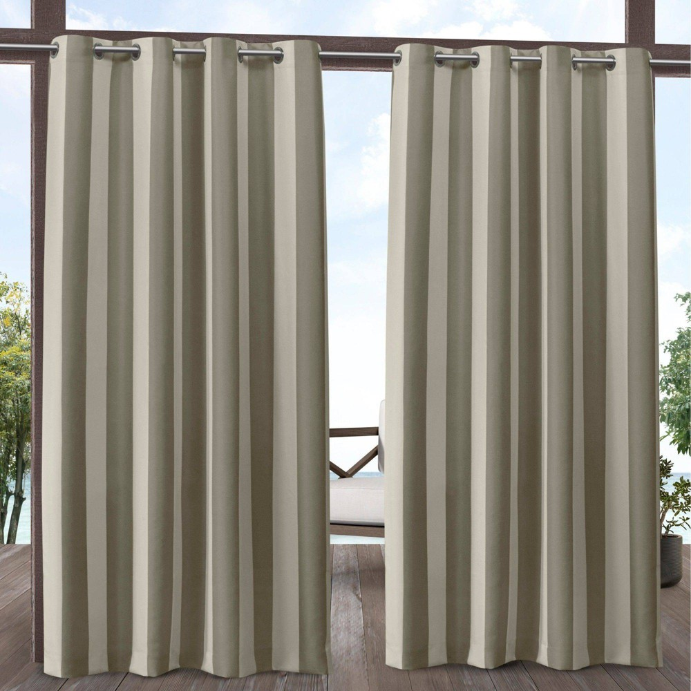108 34 X54 34 Canopy Striped Grommet Top Light Filtering Window Curtain Panels Taupe Brown Cream Exclusive Home