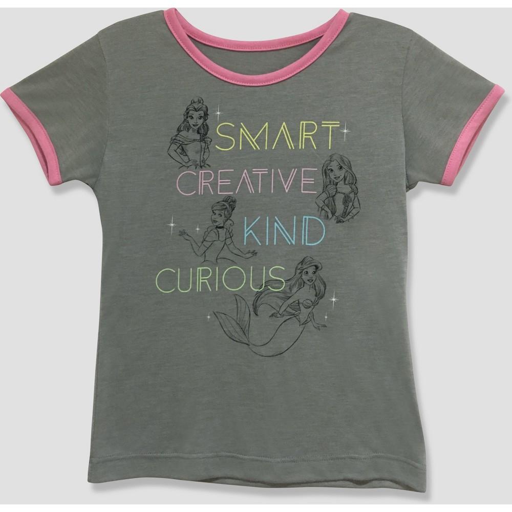 Toddler Girls' Disney Princess Short Sleeve T-Shirt - Gray/Pink 2T