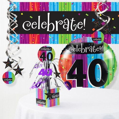 Milestone Celebrations 40th Birthday Party Decorations Kit Target