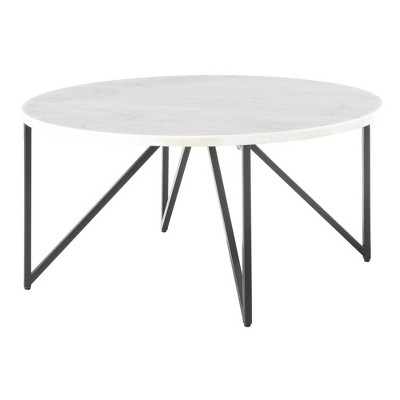 Kinsler Round Coffee Table White - Picket House Furnishings