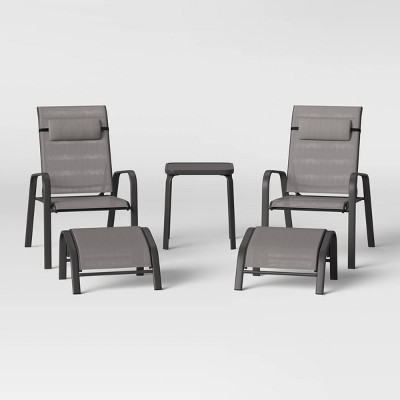 5pc Adjustable Back Patio Chat Set - Gray - Room Essentials™