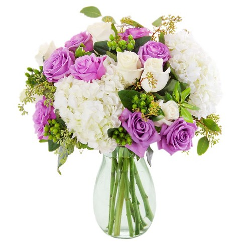 KaBloom French Violet Roses and Hydrangea Fresh Flower Arrangement  - with Vase - image 1 of 1