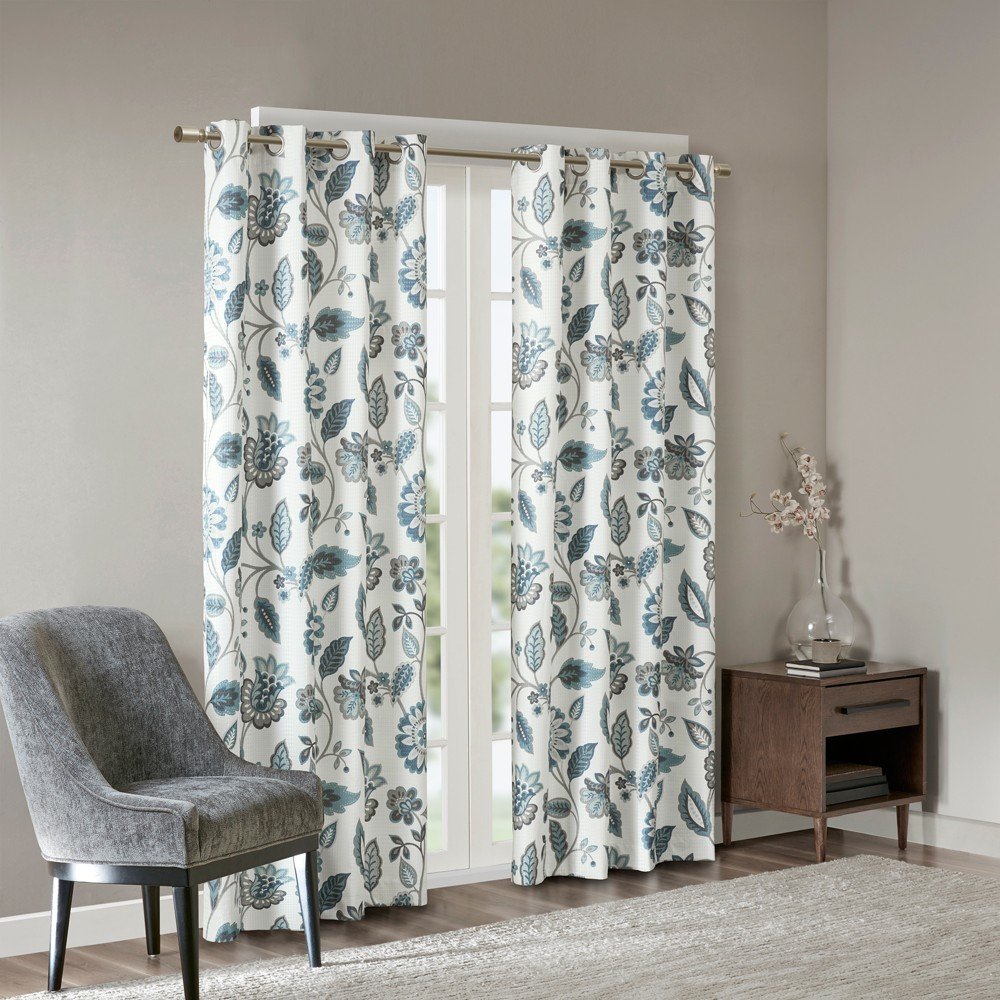Tindra Jacquard Printed Room Darkening Panel Aqua (Blue) 50x95