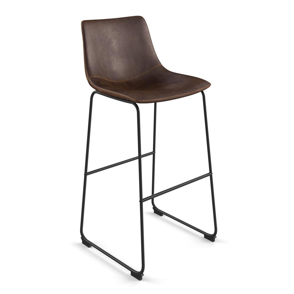 Petra Upholstered Barstool Set of 2 Dark Brown - Aeon