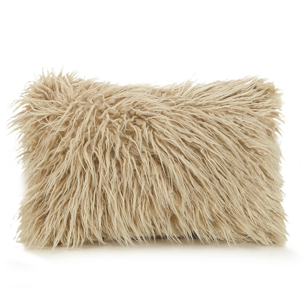 """Image of """"Ayesha Curry 12""""""""X18"""""""" Faux Fur Oblong Throw Pillow White, Beige"""""""