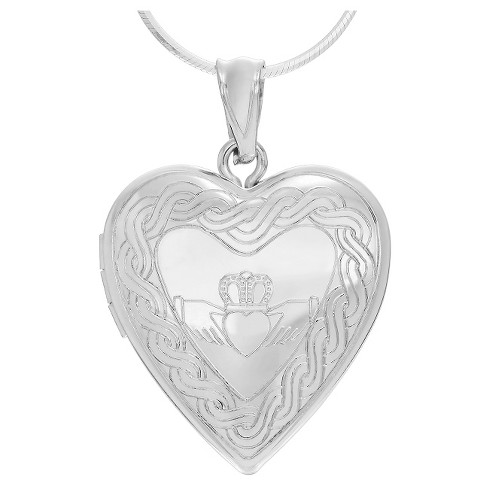 "Women's Journee Collection Claddagh Heart Locket Pendant Necklace in Sterling Silver - Silver (18"") - image 1 of 3"