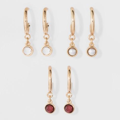 SUGARFIX by BaubleBar Embellished Huggie Hoop Earring Set - image 1 of 2
