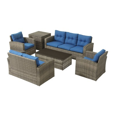 6pc Wicker Rattan Patio Sofa Set with Blue Cushions - Accent Furniture