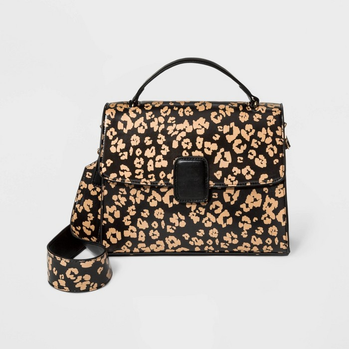 Leopard Print Satchel Handbag - Who What Wear™ - image 1 of 3