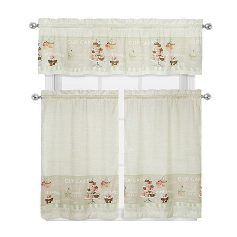 GoodGram Cupcakes 3 Piece Complete Kitchen Curtain Tier & Valance Set - 56 in. W x 15 in. L - image 1 of 1