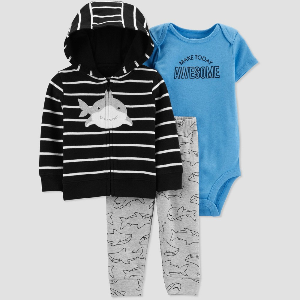 Baby Boys' 3pc Shark Striped Cardigan Set -Just One You made by carter's Black/Gray/Blue Newborn