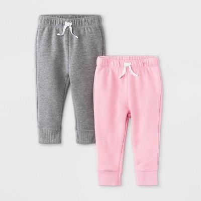 Baby Girls' 2pk Fleece Jogger Pull-On Pants - Cat & Jack™ Fun Pink 0-3M