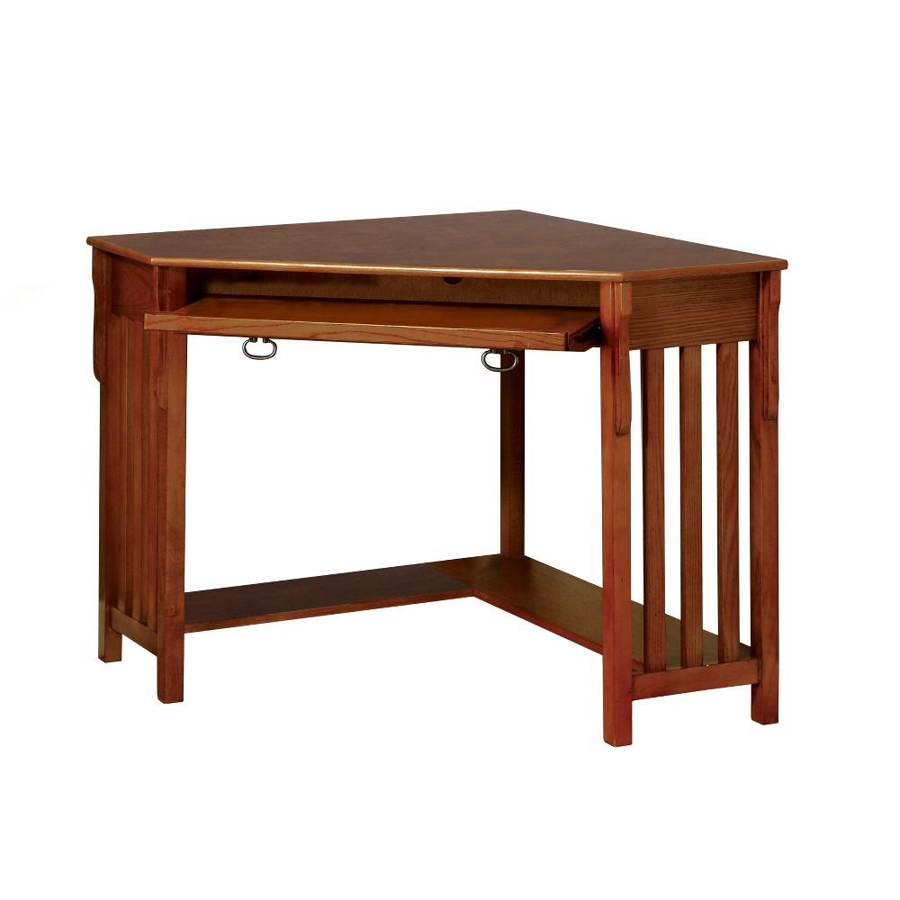 Sun & Pine Mezas Mission Style Corner Computer Desk Medium Oak, Brown