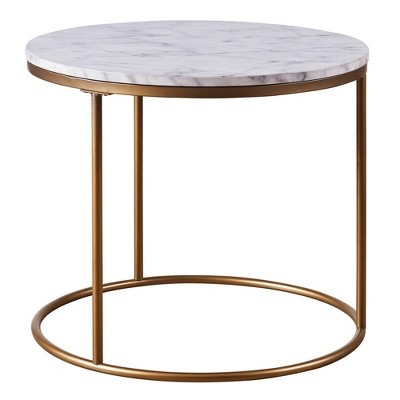 Marmo Round Side Table with Faux Marble Brass - Versanora