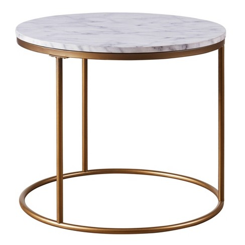 Marmo Round Side Table With Faux Marble