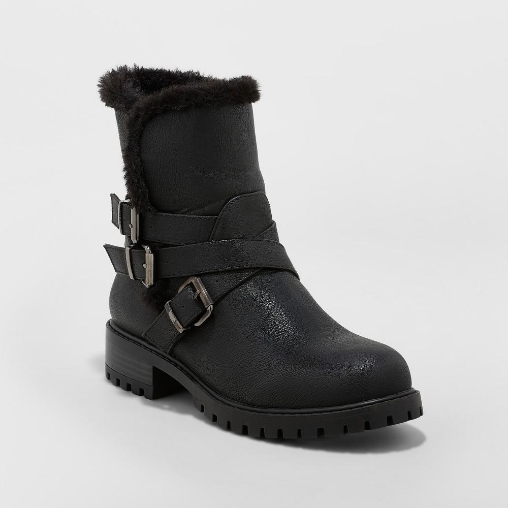 Women's Joan Buckle Seasonal Boots - A New Day Black 6.5