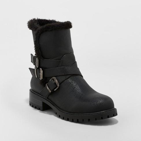 Women's Joan Buckle Seasonal Boots - A New Day™ Black - image 1 of 3