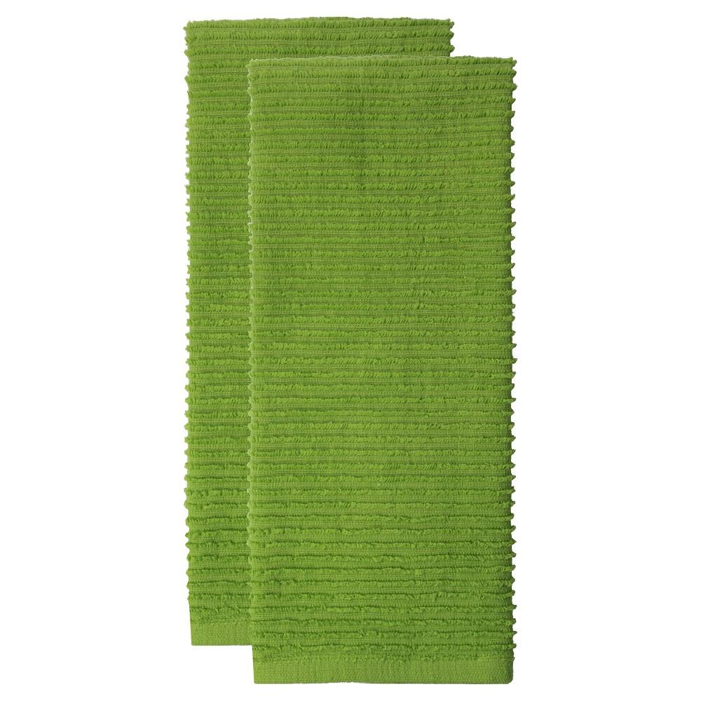 "Image of ""18""""x28"""" 2pk Cotton Ridged Kitchen Towel Green - MUkitchen"""