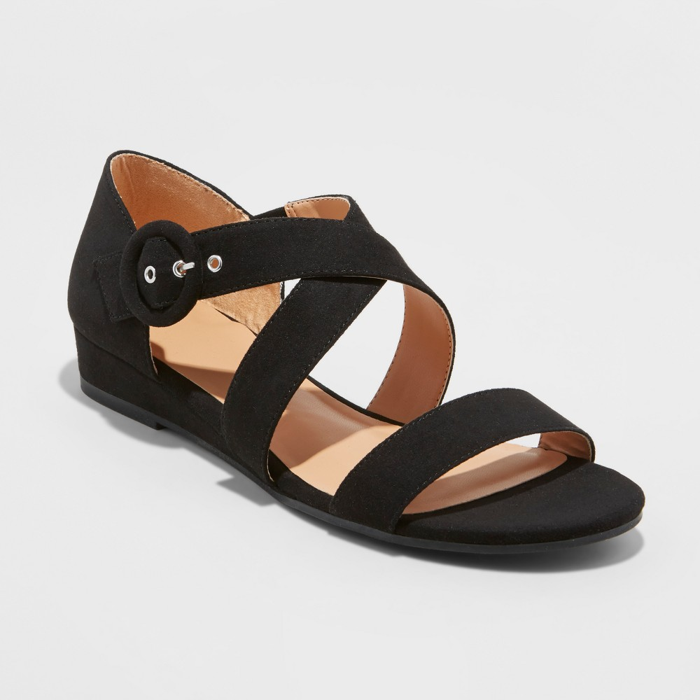 Women's Adonia Ankle Strap Sandals - A New Day Black 7.5