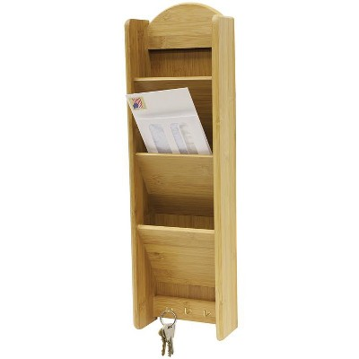 Home Basics 3 Tier Bamboo Letter Rack with Key Hooks