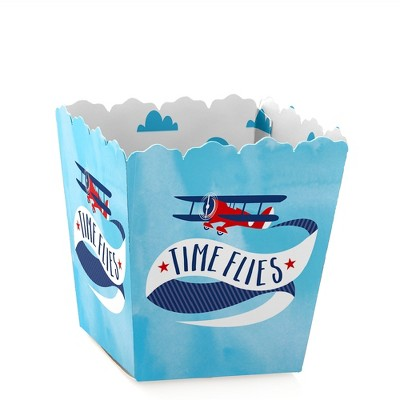 Big Dot of Happiness Taking Flight - Airplane - Party Mini Favor Boxes - Vintage Plane Baby Shower or Birthday Party Treat Candy Boxes - Set of 12