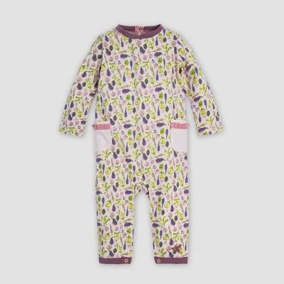 Burt's Bees Baby® Baby Girls' Watercolor Veggie Garden Organic Cotton Jumpsuit - Purple/Green 6-9M