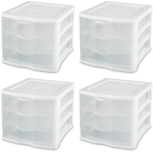 4 pack Sterilite 17918004 ClearView Portable 3 Storage Drawer Organizer Cabinets - image 1 of 6