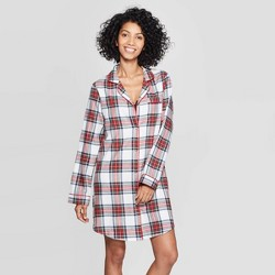 Women's Plaid Perfectly Cozy Flannel Shirtdress - Stars Above™ Cream